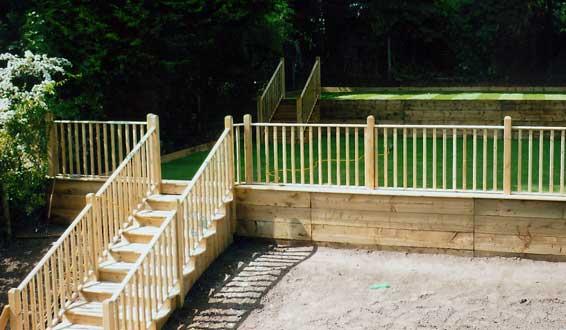 Allscapes decking carpentry for Garden decking handrails