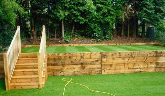 Wood Retaining Wall Garden